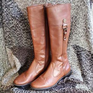Anne Klein Flex leather side zipper boots
